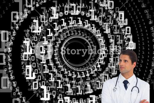 Composite image of doctor with arms crossed looking up