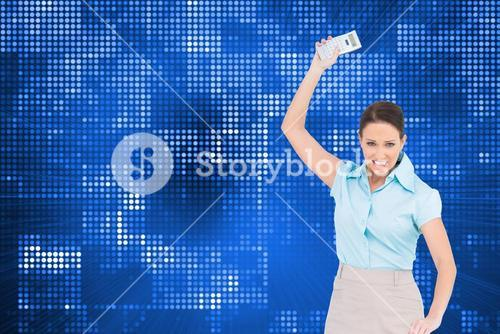 Composite image of furious businesswoman throwing her calculator