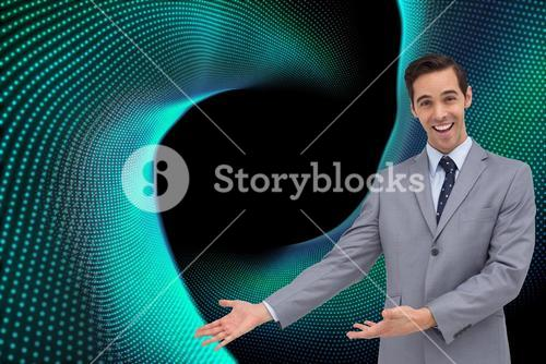 Composite image of businessman giving a presentation with his hands