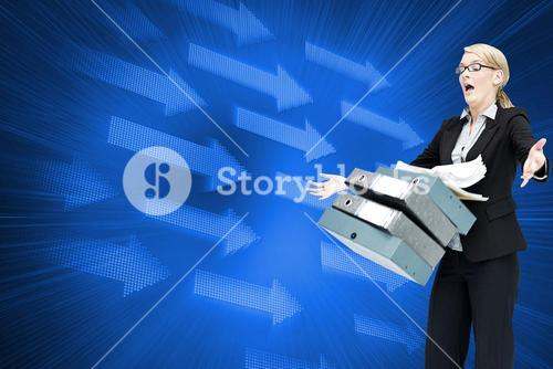 Composite image of businesswoman dropping folders