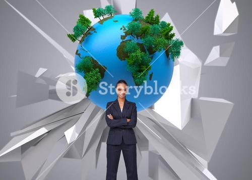 Composite image of businesswoman smiling at the camera