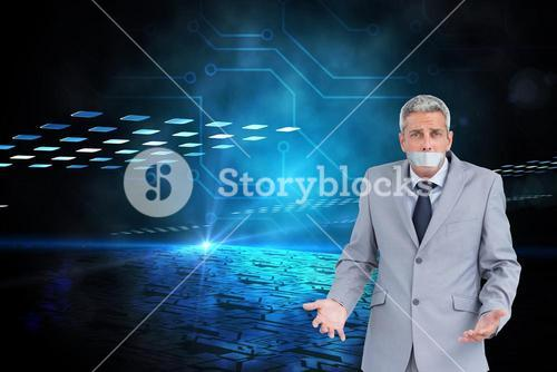 Composite image of businessman gagged