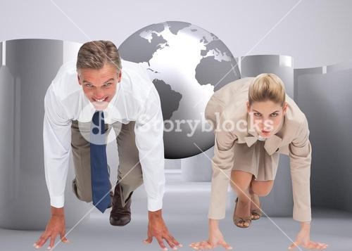 Composite image of business people ready to start race