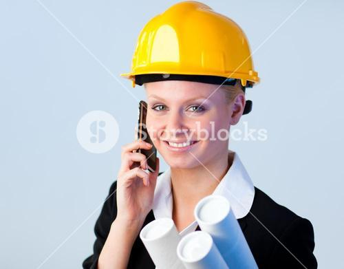 Female engineer on the phone