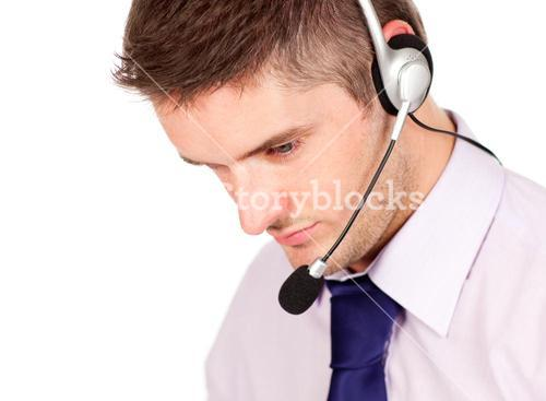 man on a headset looking away from the camera