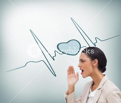 Composite image of confident businesswoman calling for someone