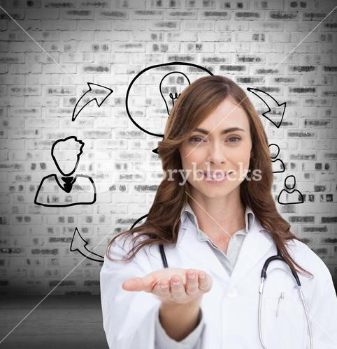 Composite image of portrait of female nurse holding out open palm
