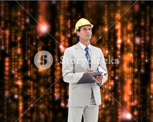 Composite image of architect taking notes