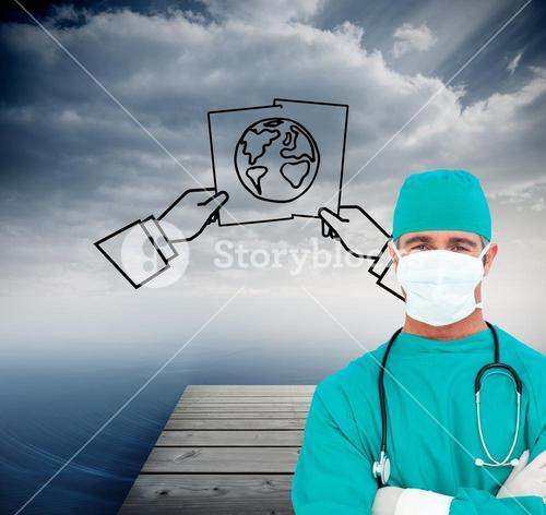 Composite image of portrait of an ambitious surgeon