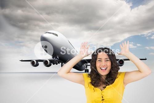 Composite image of smiling casual young woman posing