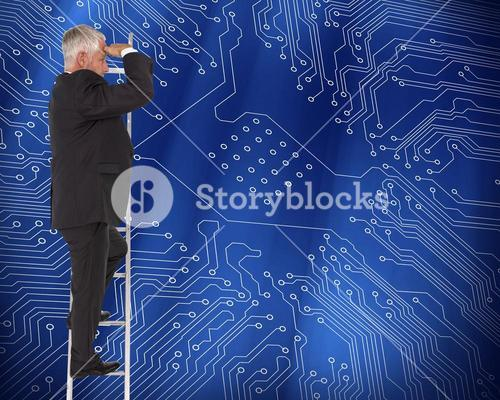 Composite image of mature businessman standing on ladder