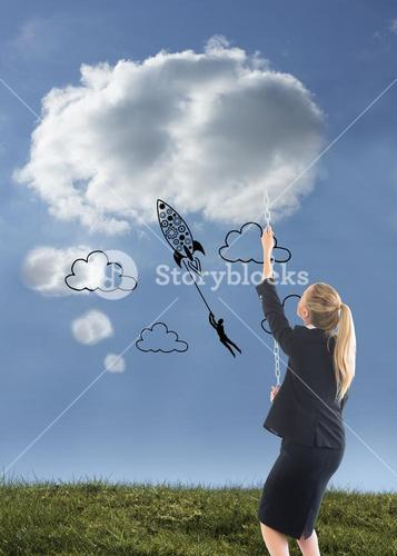Composite image of businesswoman pulling a chain