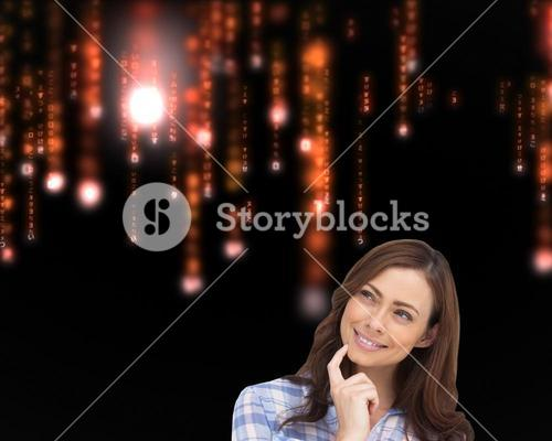 Composite image of thoughtful woman placing her finger on her chin