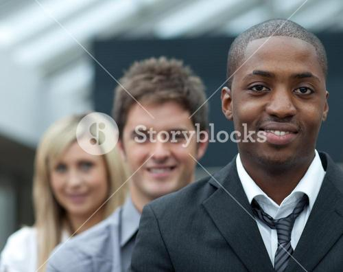 Portrait of an businessman leading his team