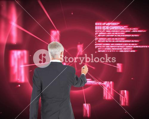 Composite image of rear view of businessman standing and writing