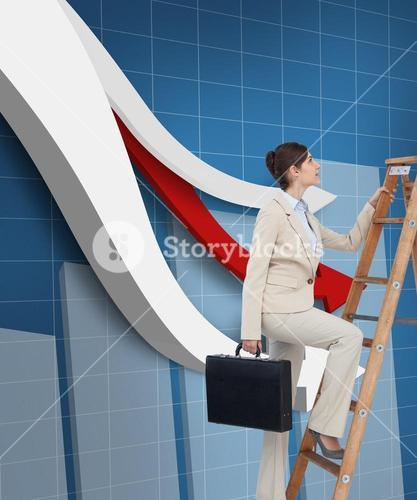Composite image of businesswoman climbing career ladder with briefcase