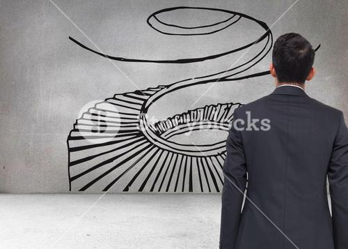 Composite image of grey wall with spiral stair