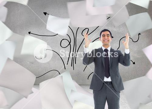 Composite image of stressed businessman with arms raised