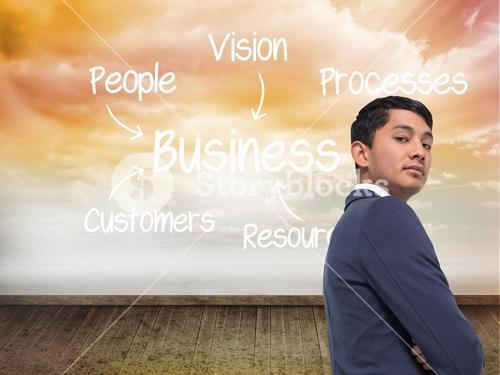 Composite image of unsmiling asian businessman with arms crossed