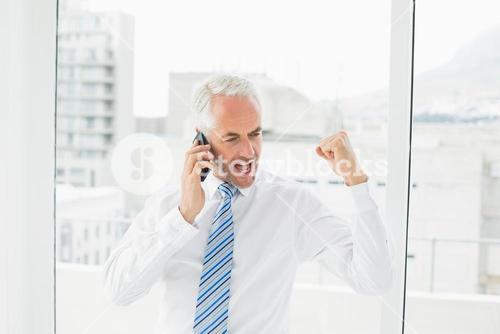 Businessman using mobile phone while clenching fist