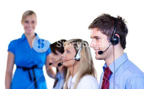 Businesspeople talking with headset