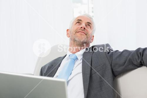Businessman with laptop sitting on sofa in living room