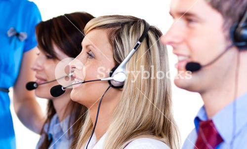 Team of people talking with headsets on