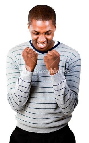 Young man with fists Clenched
