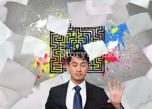 Composite image of unsmiling businessman touching