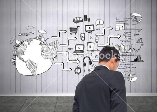 Composite image of black white graphic in grey room