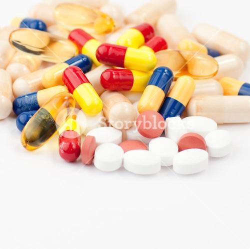 Close up of coloured pills