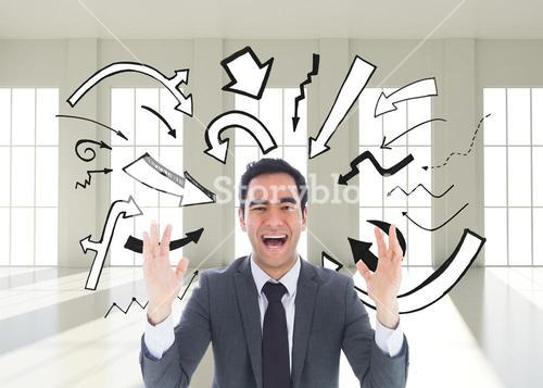 Composite image of excited businessman with arms raised