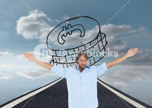 Composite image of handsome man raising hands