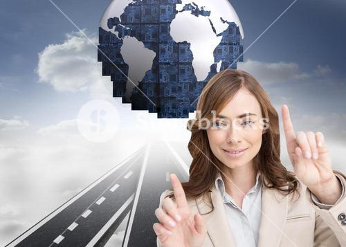 Composite image of classy businesswoman touching invisible screen