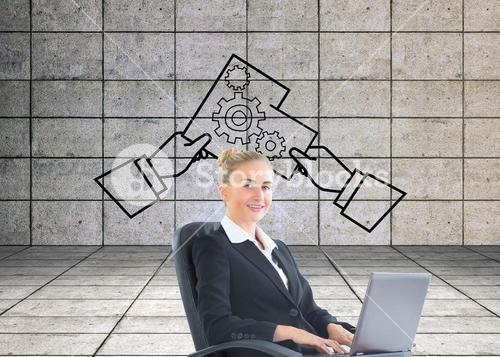 Composite image of businesswoman sitting in swivel chair with laptop