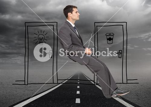 Composite image of classy young businessman sitting