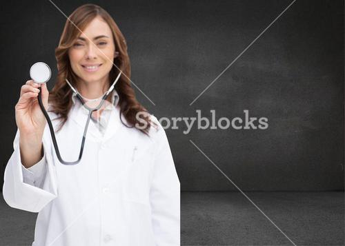 Composite image of happy doctor using stethoscope