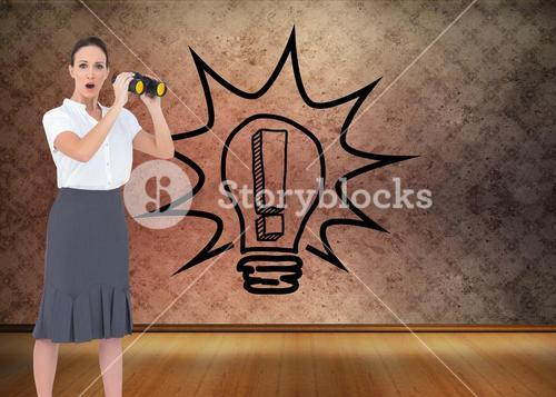 Composite image of astonished elegant businesswoman holding binoculars