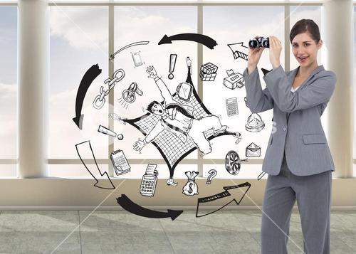 Composite image of businesswoman posing with binoculars