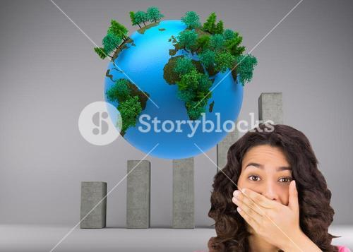 Composite image of brown haired woman being shocked
