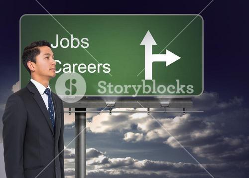Composite image of signpost showing the direction of jobs and careers