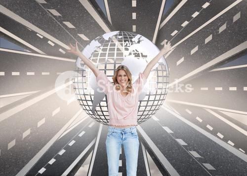 Composite image of full length shot of a smiling woman with her arms raised up