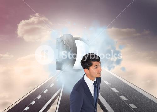 Composite image of casual businessman