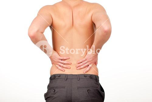 Man with backpain isolated agasint white