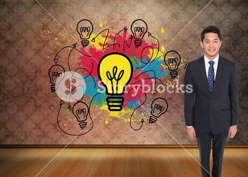 Composite image of happy businessman looking at camera