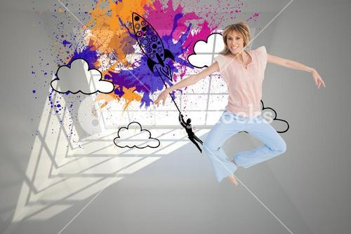 Composite image of woman jumping and opening arms