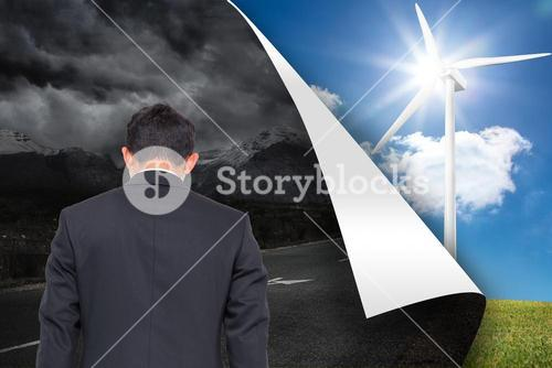 Composite image of stormy background over sunny background