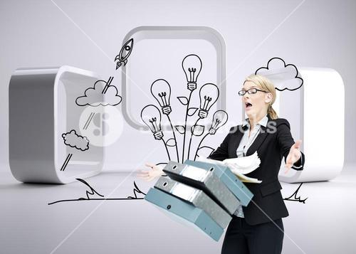 Composite image of businesswoman dropping many folders
