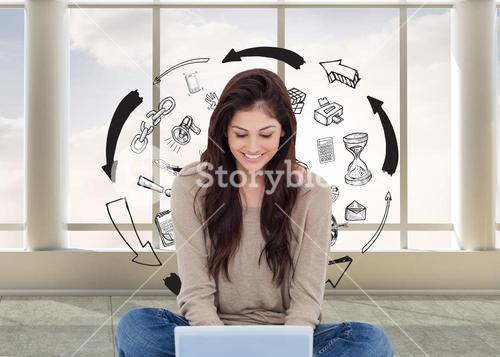 Composite image of brunette sitting on floor using laptop
