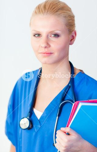 Young female doctor holding a folder